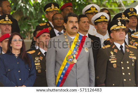 Caracas. February 1, 2017. President of Venezuela, Nicolás Maduro (center) with First Lady Cilia Flores (left) and Defense Minister Vladimir Padrino López (right), in a militar parade.