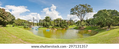Caracas, Venezuela - December 11, 2011: Panoramic view of the little lake in East Park, in Caracas, Venezuela