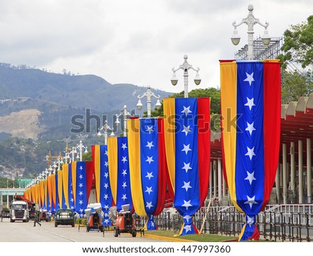 CARACAS, VENEZUELA - JULY 5, 2016: Country flag ornaments decorate lampposts at the Paseo Los Proceres on the 205th anniversary of the country's Independence from Spain.