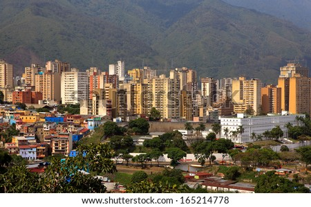 CARACAS, VENEZUELA-MAY 10: Skyline of Caracas on May 10,2013. Venezuela's President announced a new decree to limit monthly rents for commercial properties in a bid to reduce costs passed to consumers - stock photo