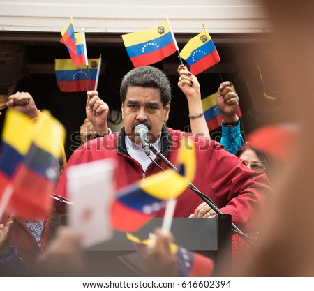 Caracas, Venezuela. 23 May, 2017. Venezuelan president Nicolas Maduro speaks in an act to support to Assembly Constituent.