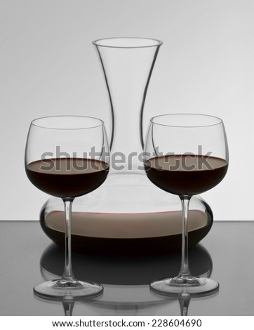 carafe and two glasses before celebration - stock photo