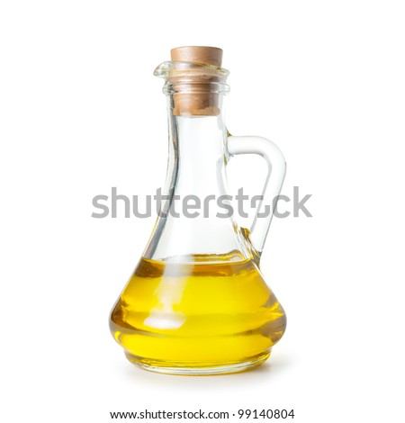 carafe of olive oil on white background. Isolated path included. - stock photo