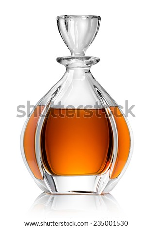 Carafe with whiskey isolated on a white background - stock photo