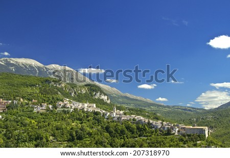 Caramanico Terme is a small touristic town among Majella Mounts, Abruzzo region, Italy - stock photo