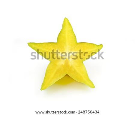 carambola, star fruit isolated on white background - stock photo
