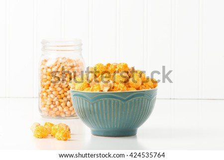 Caramel and cheese popcorn mix commonly referred to as Chicago mix. - stock photo