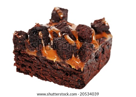 caramel brownie isolated - stock photo
