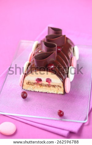 Caramel, Cherry and Praline Yule Log Cake glazed with chocolate mirror glaze, decorated with chocolate loops, cherries and french macarons, on a transparent cutting board and bright purple background. - stock photo