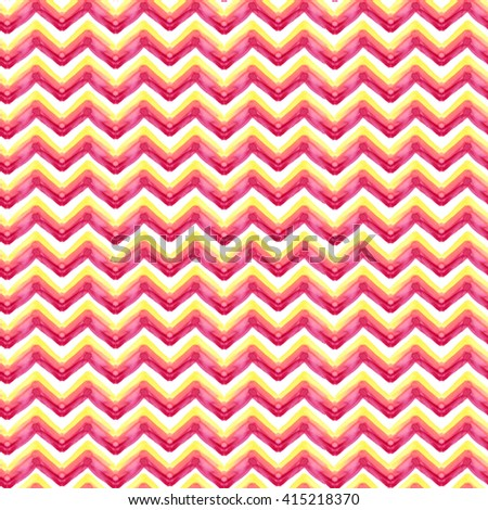 Caramel color zigzag ornament seamless pattern. Geometric watercolor painting backdrop.