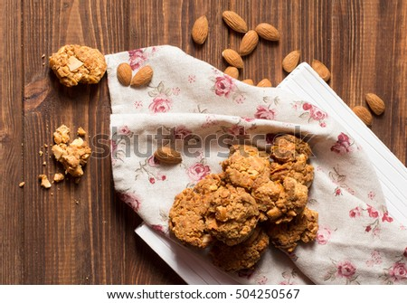 Caramel cookies with nuts, soft focus, horizontal vertical, top view