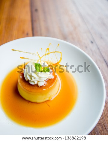Caramel Custard, Custard Pudding with Cream - stock photo