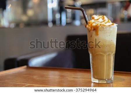Caramel frappe coffee in the coffee shop bangkok thailand. - stock photo