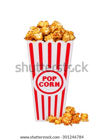 caramel pop corn in striped box bucket isolated on white background - stock photo