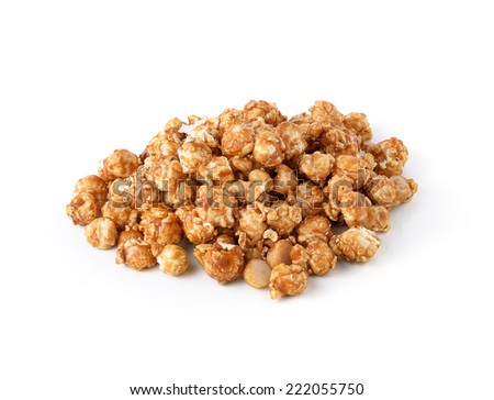 caramel popcorn isolated on white background