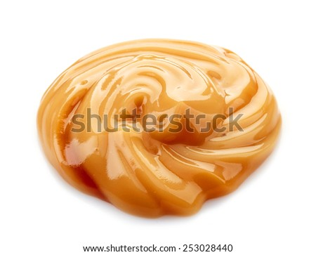 caramel sauce isolated on a white background - stock photo