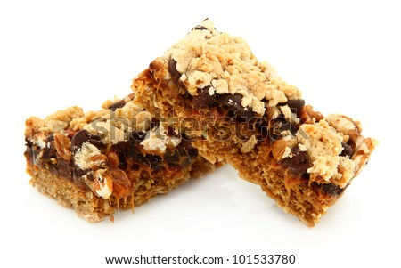 Caramelita Bar Broken In Half And Stack On Each Other Isolated On White Background