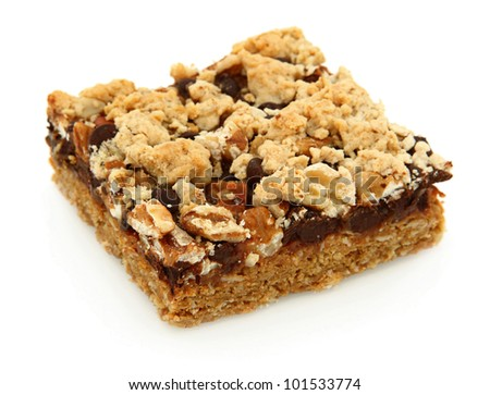 Caramelita Cookie Bar Isolated On White Background