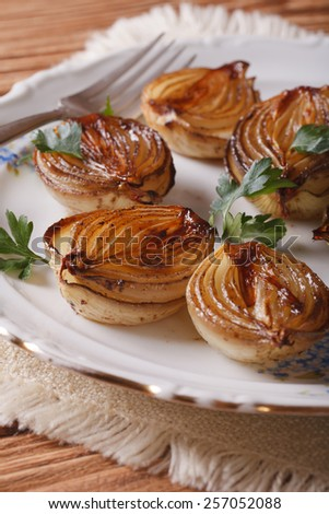 caramelized onions on a white plate close-up. Vertical - stock photo