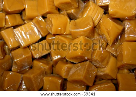 caramels, in masses - stock photo