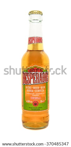 Caransebes, Romania - January 31, 2016: illustrative editorial shot of a Desperados beer bottle isolated on a white background