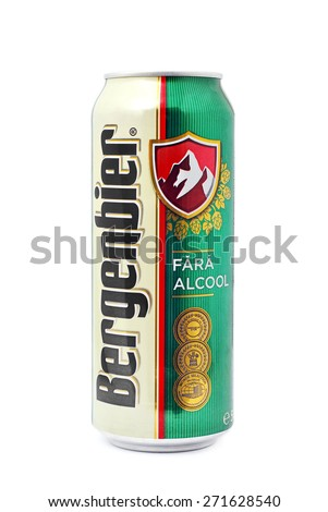 CARANSEBES, ROMANIA - JULY 6, 2011: Bergenbier beer can isolated on white, alcohol free. Owned by Molson Coors - stock photo