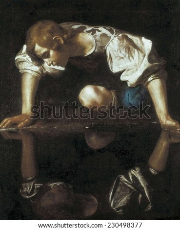 CARAVAGGIO, Michelangelo Merisi da (1573-1610), Narcissus, 1596-1598, Baroque art, Oil on canvas,