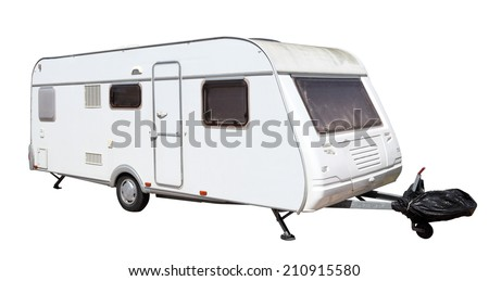 Caravan isolated over white background - stock photo