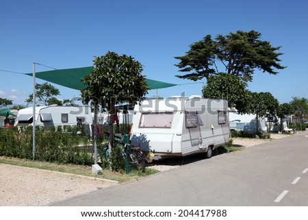 Caravan on a camping site in southern Spain - stock photo