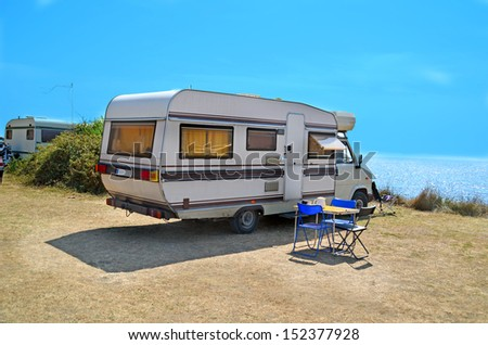 caravan table chairs - stock photo