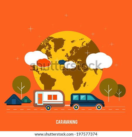 Caravaning near the tree. Caravaning tourism. Icons of traveling, planning a summer vacation, tourism and journey objects. Raster version - stock photo