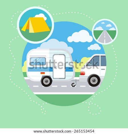 Caravaning on the road near the tree. Caravaning tourism. Icons of traveling, planning a summer vacation, tourism and journey objects. Raster version - stock photo