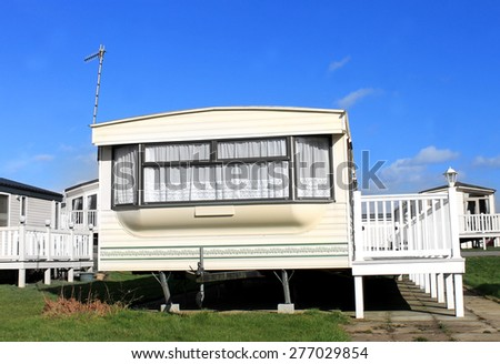 Caravans on a trailer park in England. - stock photo