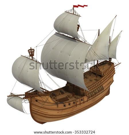 Caravel. 3D Model Over White Background. - stock photo