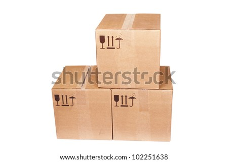 Carboard Boxes isolated on the white background - stock photo