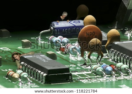 Carbon based lifeforms infesting a silicon based landscape. - stock photo