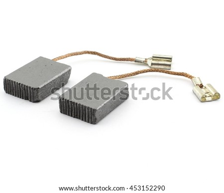 Carbon brushes set, isolated on white background - stock photo