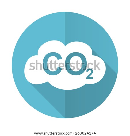 carbon dioxide blue flat icon co2 sign  - stock photo