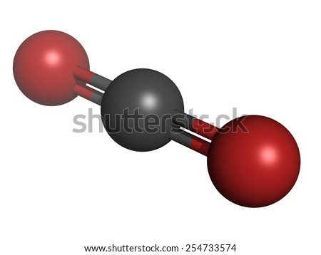 Carbon dioxide (CO2) greenhouse gas molecule, chemical structure. Atoms are represented as spheres with conventional color coding: carbon (grey), oxygen (red)