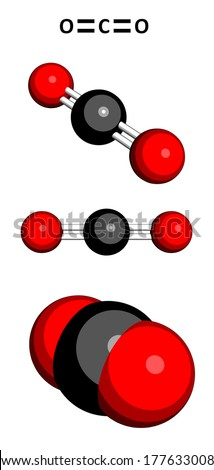 Carbon dioxide (CO2) greenhouse gas molecule, chemical structure. Three representations: 2D skeletal formula, 3D ball-and-stick models, 3D space-filling model.  - stock photo
