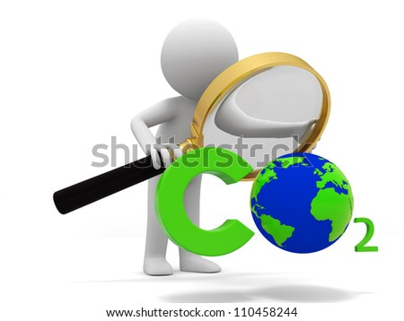 Carbon dioxide /earth/A people observe a Carbon dioxide   symbol with a Magnifying glass - stock photo