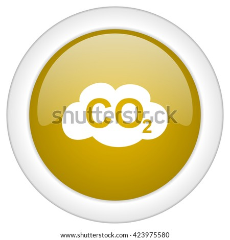 carbon dioxide icon, golden round glossy button, web and mobile app design illustration - stock photo
