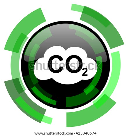 carbon dioxide icon, green modern design glossy round button, web and mobile app design illustration - stock photo
