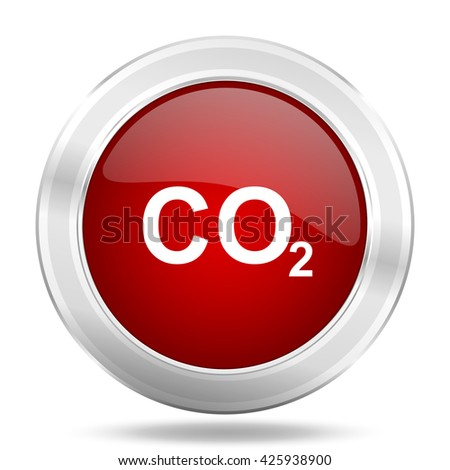 carbon dioxide icon, red round metallic glossy button, web and mobile app design illustration - stock photo