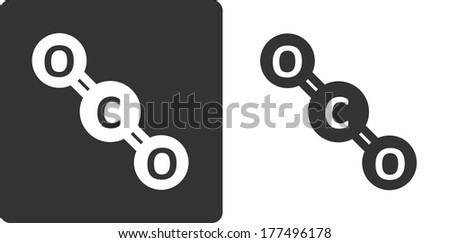 Carbon dioxide molecule, , flat icon style. Stylized rendering. Atoms shown as circles. - stock photo