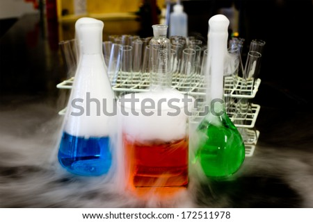 Carbon dioxide solid in flask - stock photo