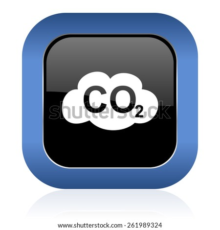 carbon dioxide square glossy icon co2 sign  - stock photo