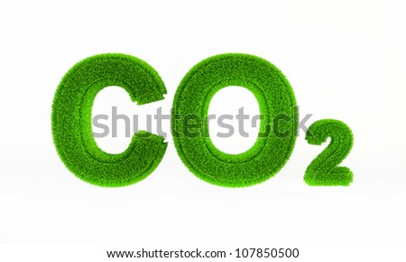 Carbon dioxide symbol with a green grass texture (CO2) - stock photo