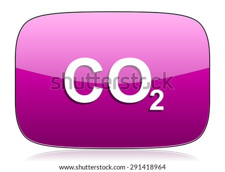 carbon dioxide violet icon co2 sign original modern design for web and mobile app on white background with reflection  - stock photo
