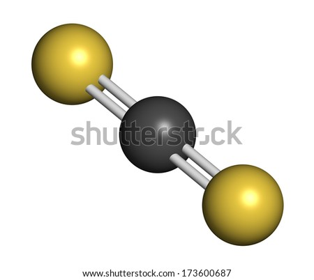 Carbon disulfide (CS2) molecule. Liquid used for fumigation and as insecticide. Atoms are represented as spheres with conventional color coding: sulfur (yellow), carbon (grey).